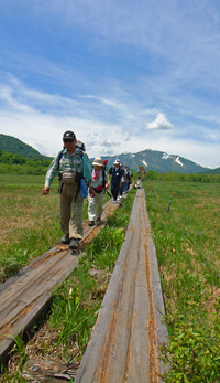 Hikers on Wood Deck